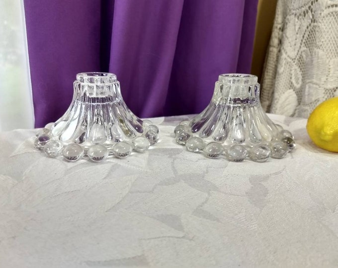 Anchor Hocking Candlewick Boopie Clear Glass Candle Stick Holders ~ Set of 2  Bubble Glass Mid Century Candlestick Affordable Wedding