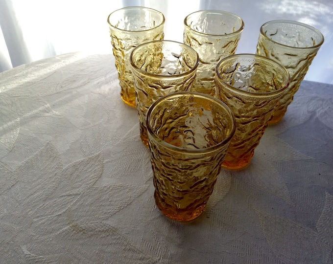 Set Of 6 Vintage Anchor Hocking Amber Crinkle Lido Milano Juice Glasses MCM Retro Boho Yellow Honey Gold Small Drinkware