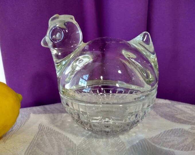 Anchor Hocking Waterford Clear Hen In Basket Covered Trinket Dish Sugar Dish Lidded Clear Glass Nesting Chicken