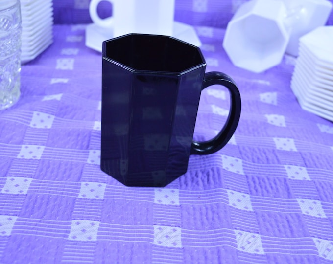 Set of 4 Black Octagon Arcoroc France Vintage Octime Black Coffee Mug Retro 8 Paneled Sided Drink Ware Sold Individually