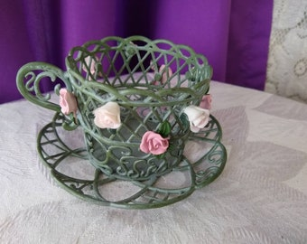 Partylite Single Votive Holder  Metal Green Lattice Tea Cup Pink White  Metal Flowers Office Gift For Mom