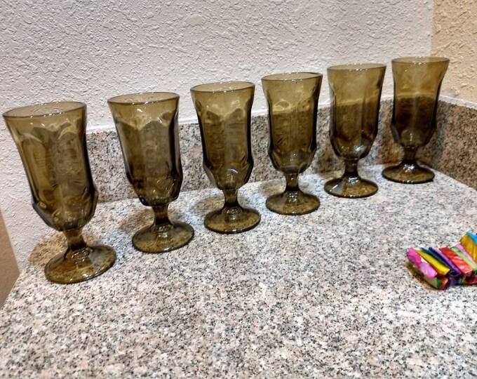 Set Of 6 Duz Giveaway Brown Goblets Iced Tea Glasses Duz Detergent Parfait Dessert Dishes Smokey Brown Wine Barware Stemware