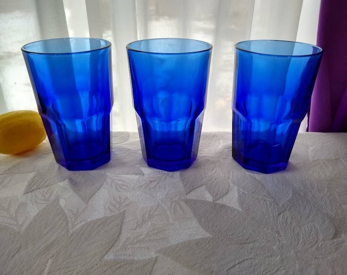 Libbey Crisa Cobalt Blue Vintage Paneled Water Glasses Retro Large Heavy Tall Collectible Drinkware