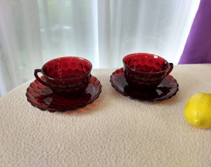 Royal Ruby Red Bubble Glass Cup And Saucer Bullseye Pattern Set Of 2