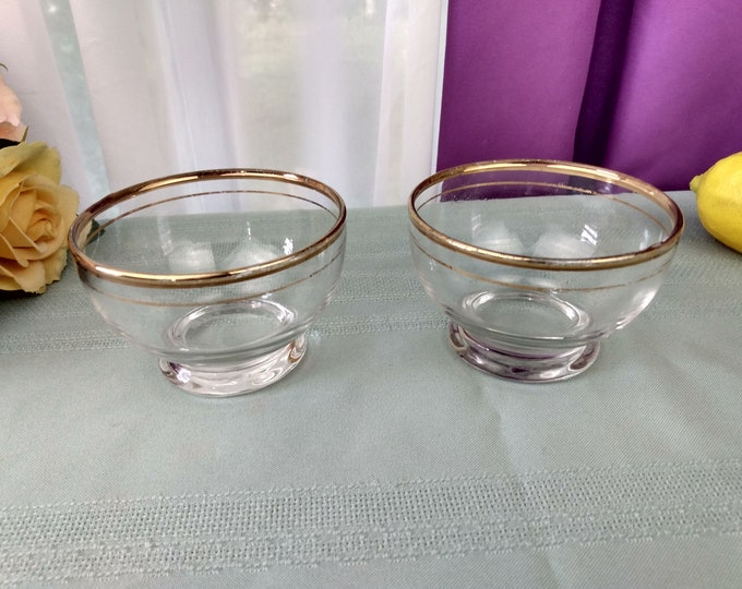 Set Of 5 Anchor Hocking Clear Gold Rimmed Footed Dessert Bowls With Gold Rim Mid Century Snack Set Berry Bowls