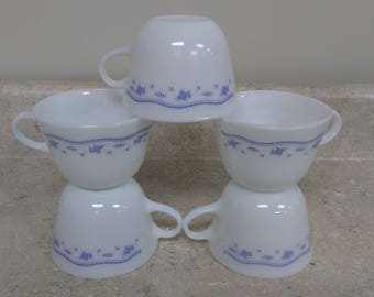 Morning Blue Pyrex Coffee Cups Country Cottage Shabby Chic Light Blue / White Retro Kitchen Tea cups Corning Milk Glass Set Of 5