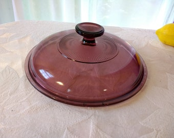 Vintage Pyrex Visions Cranberry Ribbed  Range Top Pan Lid V 2.5 C Corning Vision Ware Glass Cover