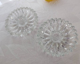 Jeannette National Clear Glass Candlesticks Set of 2 Sunflower Pattern Romantic Decor Mid Century Dining Affordable Wedding Gift Birthday