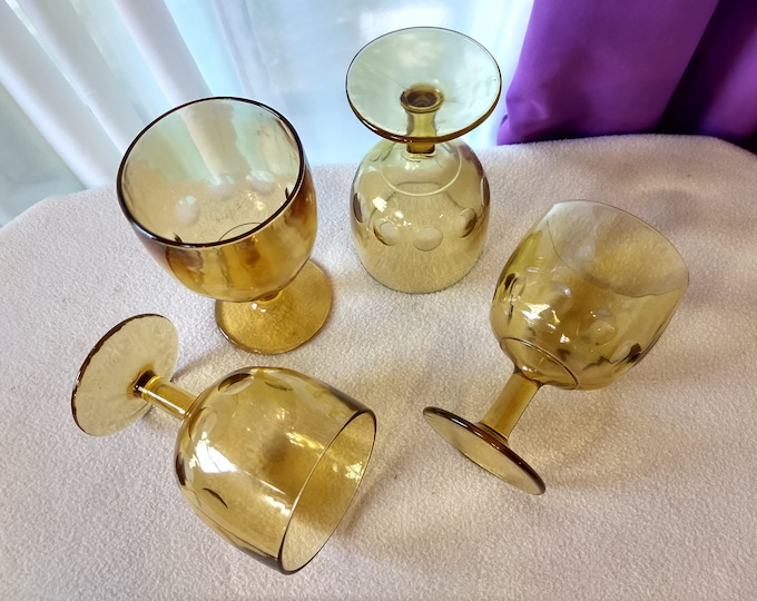 Bartlett Collins Schooners Amber Yellow Glass Goblets (4)Thumbprint Coin Dot Stemmed Water Glasses Heavy Beer Glasses Man Cave Bar