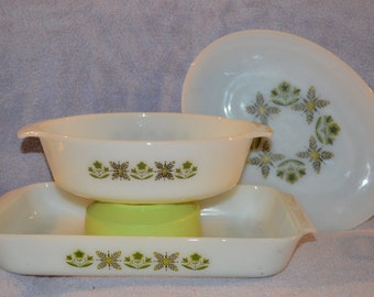 Fire King Green Meadow Collection ~Servimg Platter ~ Oblong Casserole ~ Round Casserole 436