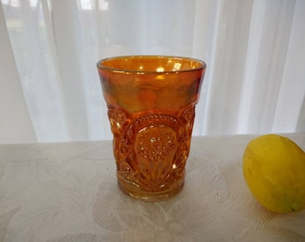 Imperial Lustre Rose Marigold Carnival Tumbler Water Glass Hobster Water Glass  Depression Peach Orange Brilliant Cut EAPG Replacement
