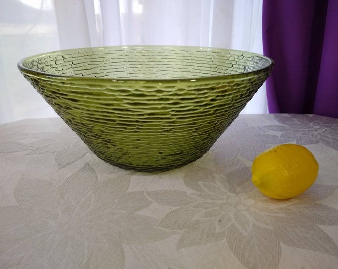 Olive Green Soreno Glass Chip And Dip Bowl Pasta Bowl Punch Bowl Serving Bowl Salad Bowl