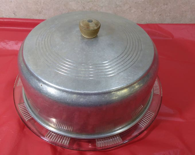 Vintage 10 Inch Spun Pressed Aluminum Cake Cover Wooden Wood Knob Handle & Footed  Federal Glass Plate With Floral Design Circa 1940's