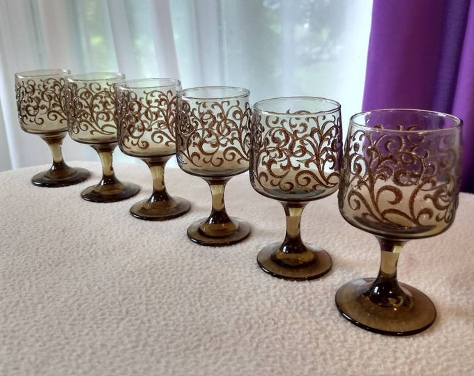 Set Of 6 Libbey Tawny Brown Scroll Rock Sharp Goblets Man Cave Masculine Kitchen Footed Glasses Stemware Clear Brown Glass Wine Glass Set