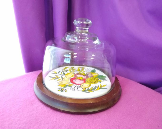 Vintage Teak Wood Glass Cover Dome Cheese Plate Vegetable Ceramic Medley Motif French Farmhouse Cheese Boarding