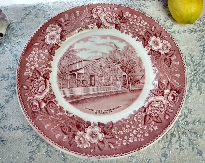 Gettysburg General Lee's Headquarters Red Plate Staffordshire Ware England Colonial Transferware American Historical Civil War Collectible M