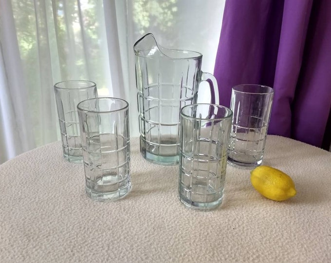 Anchor Hocking Clear Tartan Water Pitcher And Tall Glasses Set Manhattan Plaid Chris Cross Heavy Drinkware Man Cave