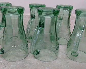 14 Oz Cola Green Libbey Handles Soda Fountain Drinkware Tall Glasses