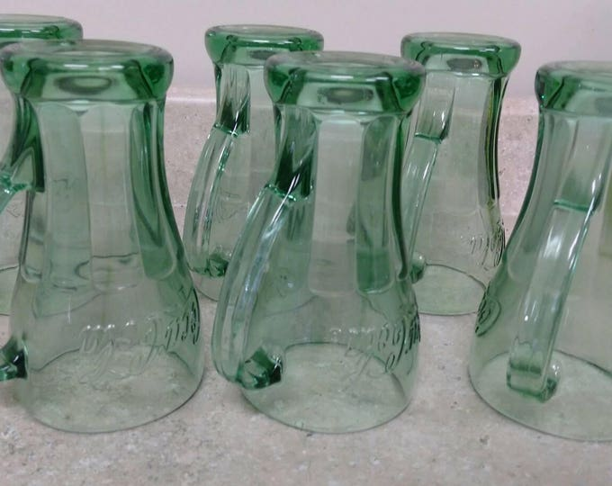 14 Oz Cola Green Libbey Handles Soda Fountain Drinkware Tall Glasses