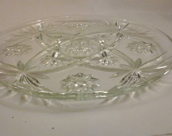 Anchor Hocking 10 Inch Early American Prescut Star Of David Clear Glass Snack Luncheon Plate Set of 4