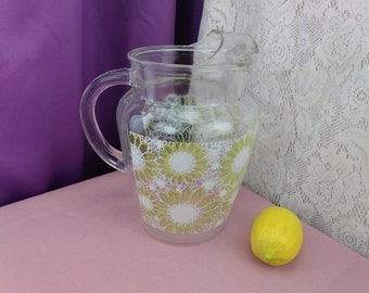 Anchor Hocking Daisy Yellow And White Flower Power MCM Design Lemonade Water Pitcher With Ice Lip Vintage 1960's Heavy Glass