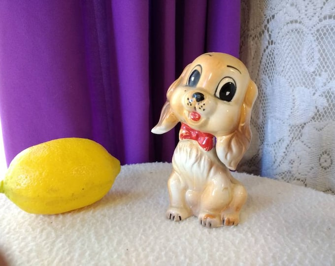 Vintage Commodore Cute Mid Century Ceramic Puppy Dog Figurine Mid Century Decor