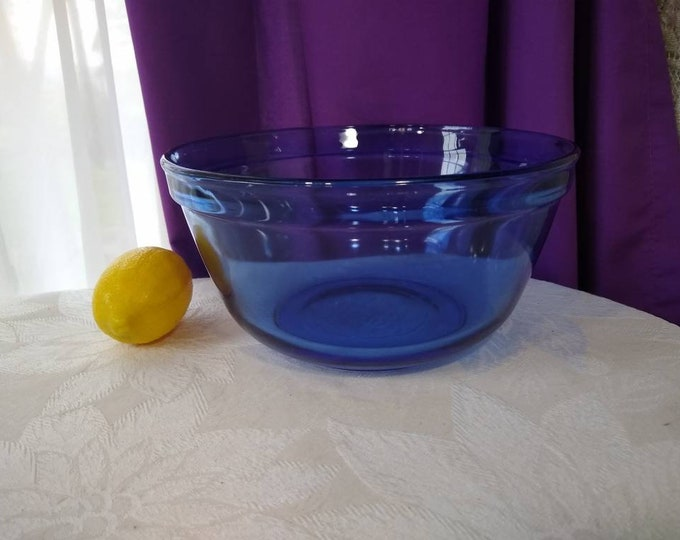 Anchor Hocking Cobalt Blue Mixing Bowl 2.5 Liter Anchor Ovenware Nesting Bowl