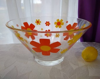 Libbey Mod Retro Orange Yellow Flower Power Snack Glass Bowl  Snack Chip Salad Serving Bowl