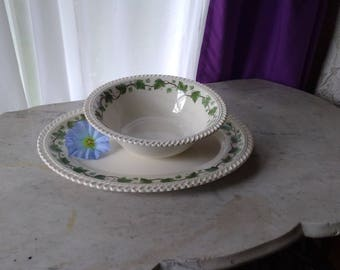 Hacker Royal Gadroon Ivy 1940's China Serving Tray Trinket Platter & Serving Bowl Shabby Chic Country Cottage Irish Scottish Decor Tableware