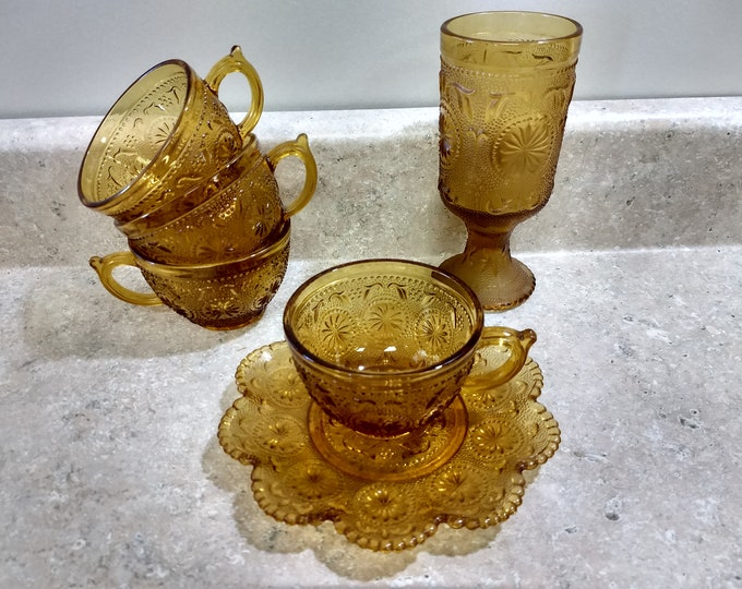 Lot of Brockway Amber American Concord Drinkware 4 Tea Cups 1 Saucer 1 Footed Water Goblet Glass ~ Yellow Sandwich Glass