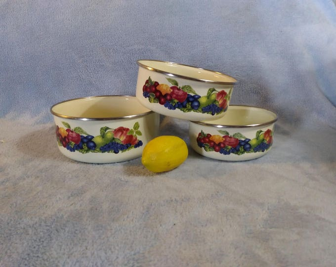 Lincoware Enamel Nesting Bowls Fruit Set Of 3 Dog Bowl Patio Planter