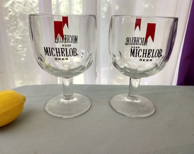 Micholob Thumbprint Goblets Set Of 2 Retro Barware Study Logo Beer Glasses Home Stemware Man Cave Gift For Him Vintage 70's Bartlet Collins