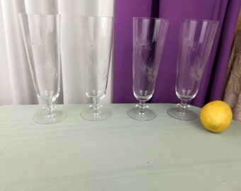Etched Atomic Starburst Pilsners Set of 4 Mid Century Modern Footed Beer Glasses MCM Barware Vintage Collectible Bar