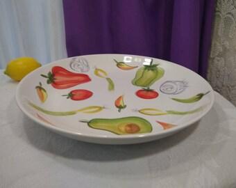 TableTops Unlimited Kitchen Prep 201 Serving Platter 13 Inch Vegetable Medley Theme Ceramic Large Platter Retro 80's Kitchen