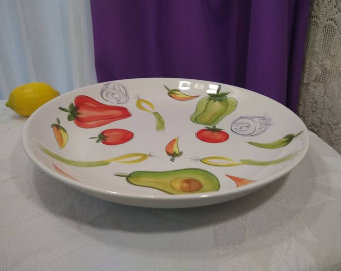 TableTops Unlimited Kitchen Prep 201 Serving Platter 13 Inch Vegetable Medley Theme Ceramic Large Platter Retro 80's Kitchen