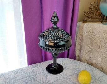 Indiana Tiara Black Diamond Point Glass Pedestal Candy Dish With Cover 1186B Beautiful! Tiara Exclusives Retro Decor Kitchen