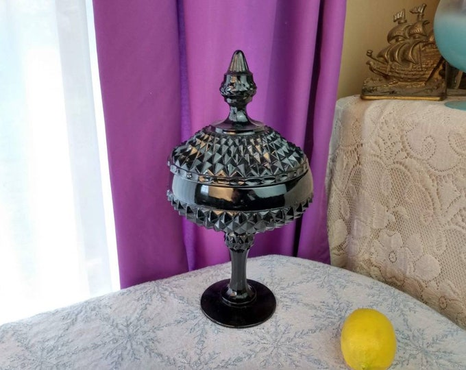 Indiana Tiara Black Diamond Point Glass Pedestal Candy Dish With Cover 1186B Beautiful! Tiara Exclusives Retro Decor Kitchen