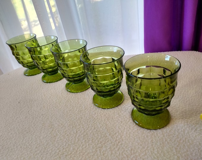 Green Whitehall Glasses Set Of 5 Indiana Avocado Footed Tumblers Fostoria Cubed Geometric Pattern Drinkware Olive Green Retro Kitchen