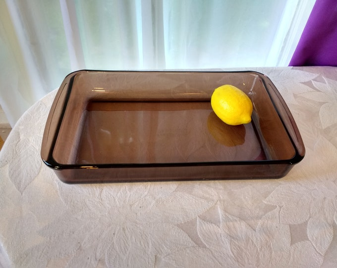 Pyrex Visions Fireside Brown Glass Rectangle Casserole Dish 232 ~ 13 x 7.5 Inch Corning Visionware Amber Brown Cake Brownie Craft Baking Pan
