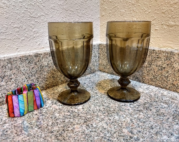 Set Of 2 Libbey Vintage Duratuff Brown Gibraltar Pattern Large  Heavy Water Goblets Glasses Stemware Drink Ware Retro Kitchen Restuarant