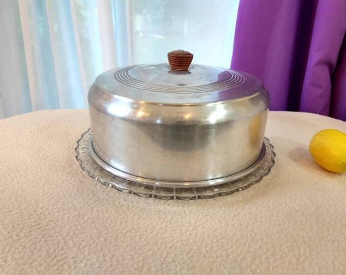 Vintage 10 Inch Spun Pressed Aluminum Cake Cover Wooden Wood Knob Handle & Footed  Federal Glass Plate With Sunflower Design Circa 1940's