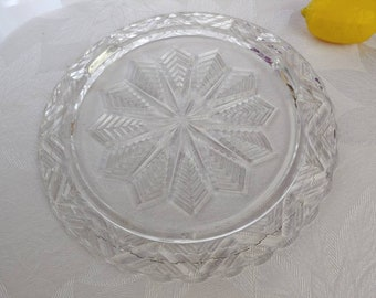 Jeannette Feather Pattern Snowflake 9 Inch Footed Cake Plate Clear Glass Mid Century Affordable Gift DIY Wedding Birthday Party Platter