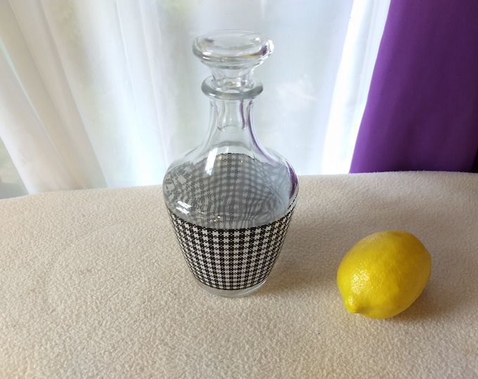 Verrerie D'Arques France Black And White Decanter Bedside Water Sherry Carafe Retro Bar Man Cave Decor Black And White Gingham Checkered
