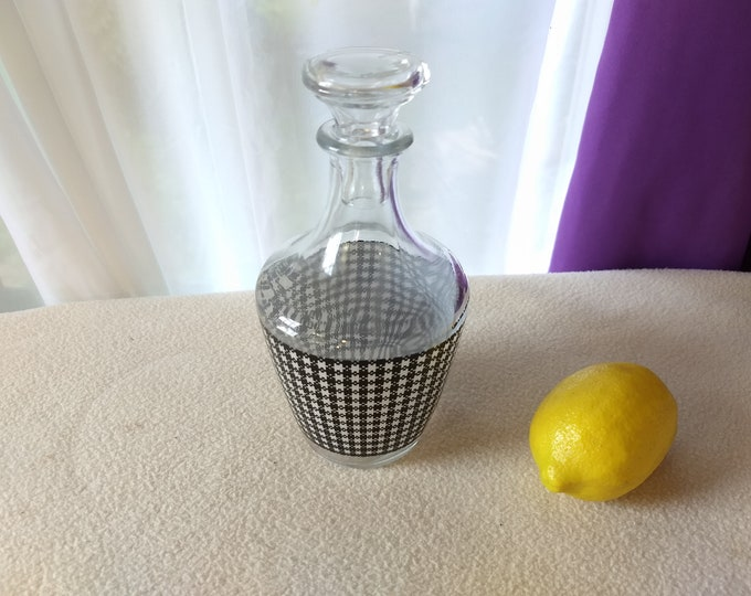 Vintage Retro Verrerie D'Arques France Black And White Check Gingham Bar Water Sherry Decanter For Him Bedside Water Caraf