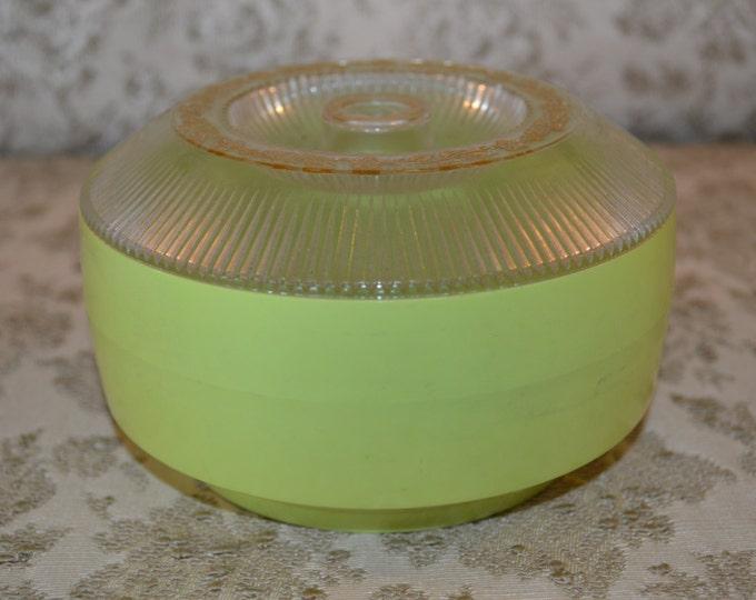 Vintage Lime Green Muguet Deluxe Dusting Powder Talc Retro 1970's Powder Box Trinket Storage Box Dresser Gift For Her