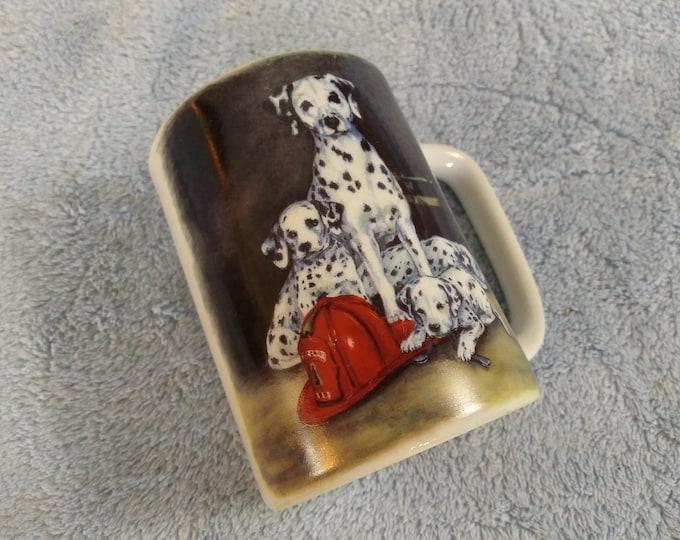 Dalmatian Dog Coffee Mug Large Mom With Puppies Fire Man House Ceramic Coffee Mug Linda Picken Otagiri Japan