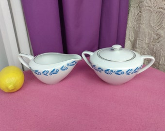 Symphony In Blue Fine China Of Japan Creamer And Sugar Set Replacement Formal Dining  Blue On White Affordable Gift House Warming