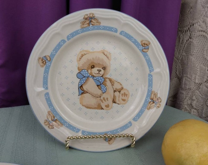 Tienshan Country Bear Stoneware Salad Plate Set of 2 Collectable Replacement China Affordable Gift GrandesTreasures