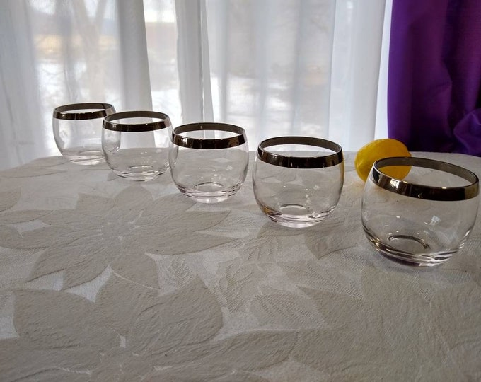 Rolly Polly Dorothy Thorpe Cocktail Glasses Set Of 5 Sterling Silver Rim Round Barware Whiskey