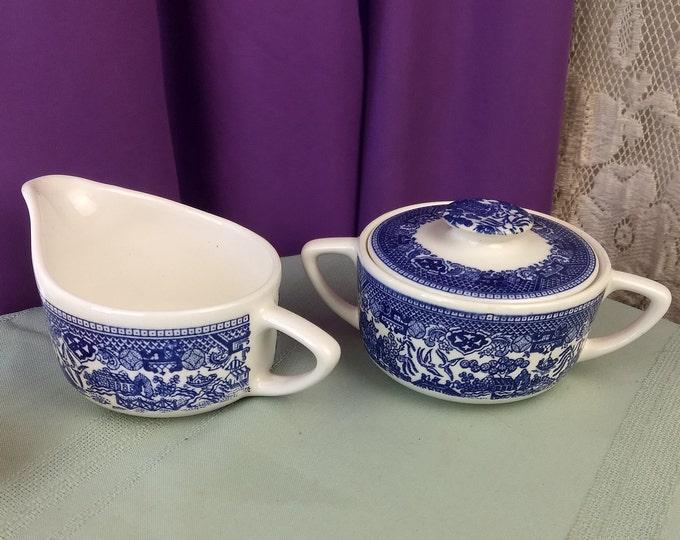 Blue Willow Transferware Creamer And Covered Sugar Bowl Set Ceramic Bone China Transfer Ware Unmarked Scio Stoneware GrandesTreasures Gift
